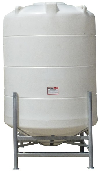 Conical / Cone Bottom, Food Grade LDPE Tank, 2100 Litre With Stand