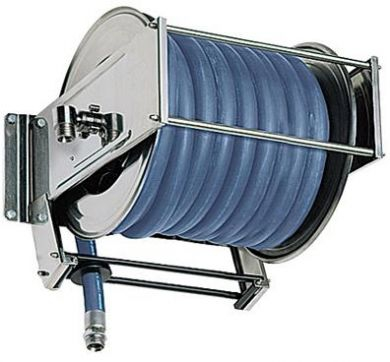 Ramex, 316 Stainless and Painted Steel, Sring Rewind Hose Reel, High Capacity