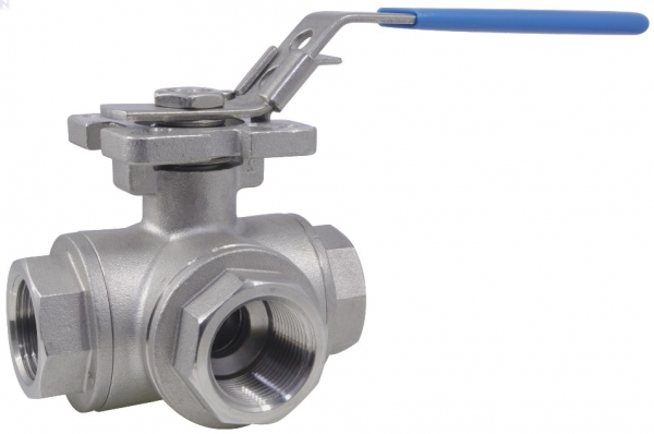 Ball Valve, Lever Handle, 316 Stainless Steel, 3-Way L-Port, 1-Pc FFF, BSP