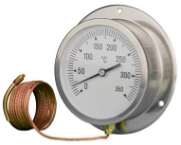 Capillary Thermometer / Temperature Gauge, Stainless Steel Case / Back Flange