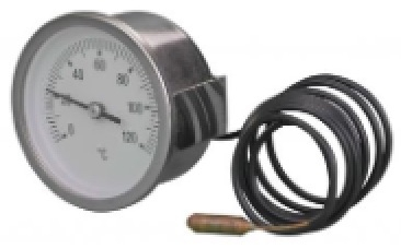 Capillary Thermometer / Temperature Gauge, Stainless Steel Case, Panel Mounting Clamp