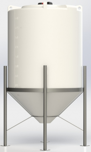 Conical / Cone Bottom, Food Grade LDPE Tank, 250 Litre With Stand