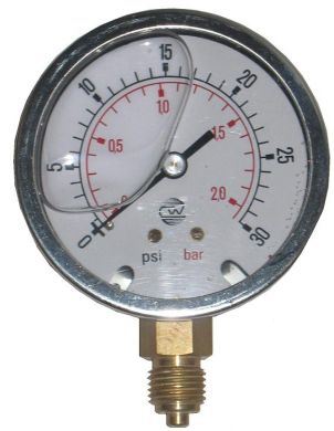 Pressure Gauge, Glycerine Filled, Bottom Connection, 63mm Dia. 15 to 10,000 PSI