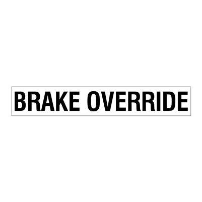 "Gammon GTP-2135-15, BRAKE OVERRIDE Decal, 3M, 2,1/2""x15"""