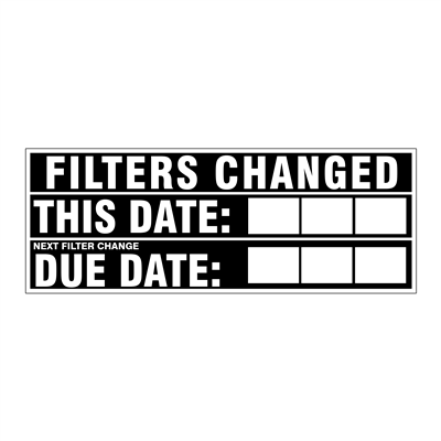 """Gammon GTP-2135-19, Filters Changed (dates) Decal, 3M, 4,1/4""""x11"""""""