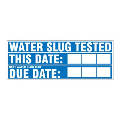 "Gammon GTP-2135-20, Water Slug (valve) Tested (dates) Decal, 3M, 4,1/4""x11,1/4"""