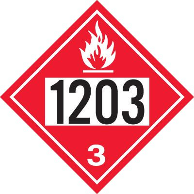 """Gammon GTP-2135-8, Gasoline and Kerosene, 1203 DOT Marker Flammable Decal, 3M, 10,3/4"""" Square"""