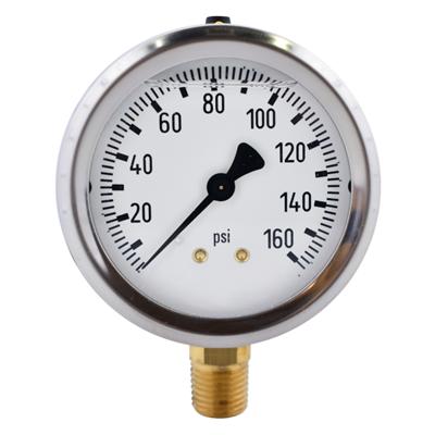 """Gammon GTP-587, 2,1/2"""" Liquid Filled Pressure Gauge, Brass Thread"""