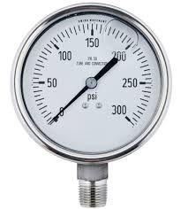 """Gammon GTP-587, 2,1/2"""" Liquid Filled Pressure Gauge, 316 Stainless Steel Thread"""