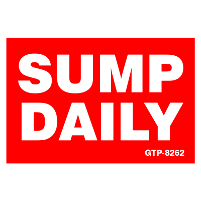 Gammon GTP-8262, Sump Daily Decal, 3M