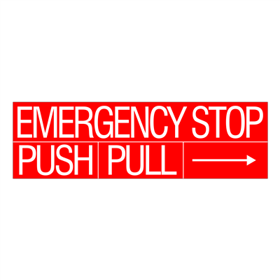 "Gammon GTP-834-29, Emergency Stop Decal, 3M, 6""x20"""
