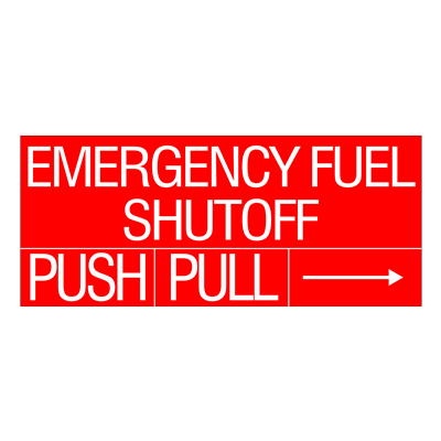 "Gammon GTP-834-32, Emergency Fuel Shut Off Decal, 3M, 8,1/2""x20"""