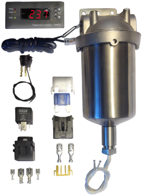 """10"""" Stainless Steel Heated Filter Housing, 12vDC or 24vDC Heating Element, LCD Temp Display"""