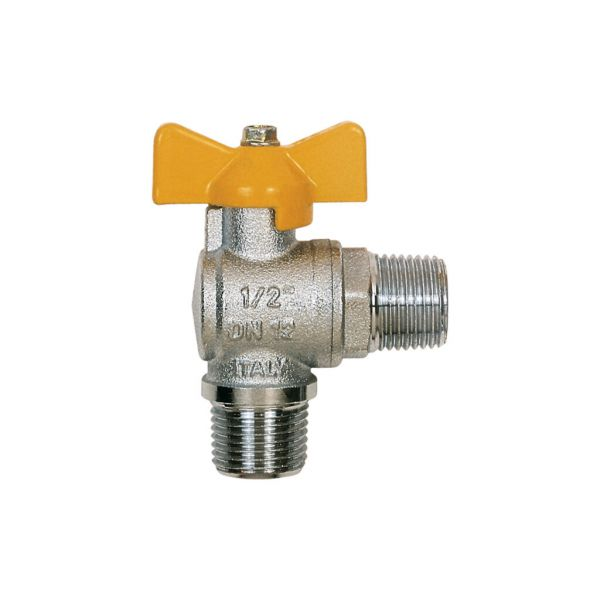 Itap 060 Angle Ball Valve, Tee Handle, Nickle Plated Brass, 2-Pc MM, BSP