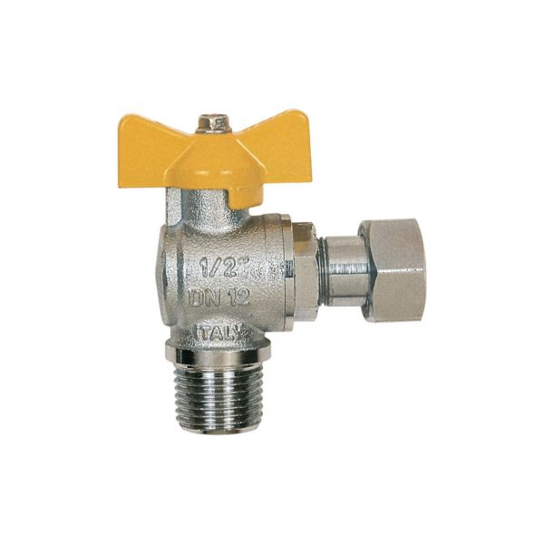 Itap 062 Angle Ball Valve, Tee Handle, Nickle Plated Brass, 2-Pc M-F, BSP