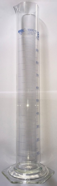Measuring Cylinder, Borosilicate Glass, Class B, 1000ml