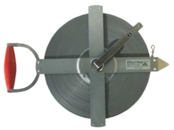 Richter, 'Special Steel' Surveyors Measuring Tape, with Field Frame, 30-100m