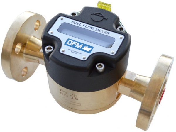 Technoton DFM Digital LCD Fuel Meter, for Marine Engine Fuel Consumption, Brass, Flanged