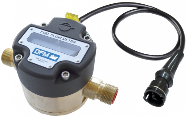 Technoton DFM Digital LCD Fuel Meter, With Pulse-Out for Marine Engine Fuel Consumption, Brass, Threaded