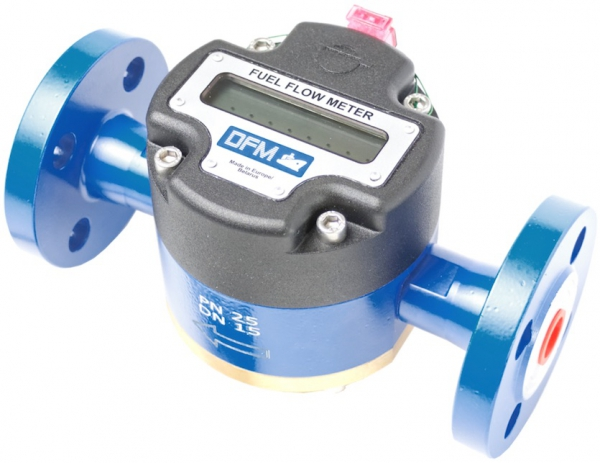 Technoton DFM Digital LCD Fuel Meter, for Marine Engine Fuel Consumption, Painted Aluminium, Flanged