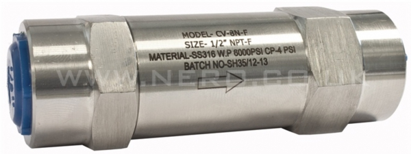 Piston Check Valve, 316 Stainless Steel, FF, 6000 PSI NPT