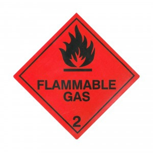 CLASS 2.1 (FLAMMABLE GASES) HAZARD LABELS (100MM X 100MM), Roll of 250
