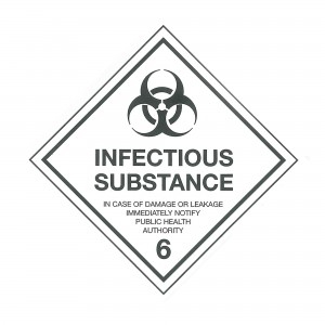 CLASS 6.2 (INFECTIOUS SUBSTANCE) HAZARD LABELS (50MM X 50MM), Roll of 250