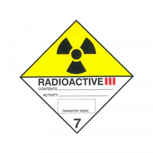 CLASS 7, CATEGORY 3 (RADIOACTIVE) HAZARD LABELS (100MM X 100MM), Roll of 250