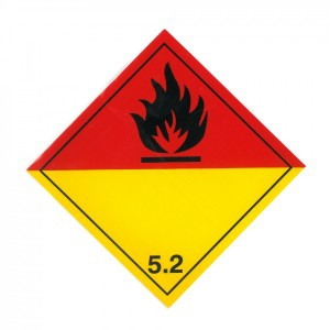 CLASS 5.2 (ORGANIC PEROXIDE) HAZARD LABELS (250MM X 250MM), Roll of 20