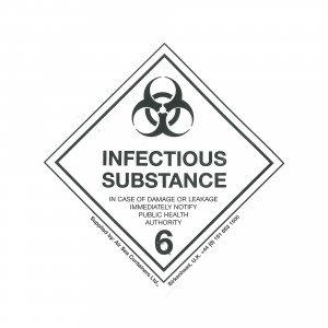 CLASS 6.2 (INFECTIOUS SUBSTANCE) HAZARD LABELS (100MM X 100MM), Roll of 250