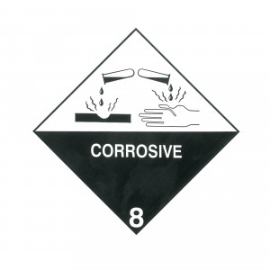 CLASS 8 (CORROSIVE) HAZARD LABELS (250MM X 250MM), Roll of 20