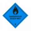 CLASS 4.3 (DANGEROUS WHEN WET) HAZARD LABELS (100MM X 100MM), Roll of 250