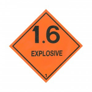 CLASS 1.6 (EXPLOSIVES) HAZARD LABELS (250MM X 250MM), Roll of 20