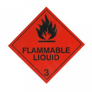CLASS 3 (FLAMMABLE LIQUID) HAZARD LABELS (250MM X 250MM), Roll of 20