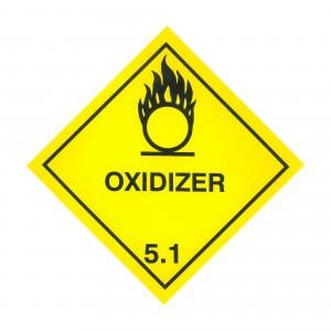 CLASS 5.1 (OXIDISING AGENT) HAZARD LABELS (250MM X 250MM), Roll of 20