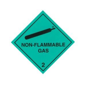 CLASS 2.2 (NON-FLAMMABLE & NON-TOXIC GASES) HAZARD LABELS (250MM X 250MM), Roll of 20