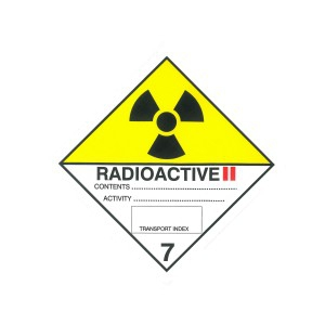 CLASS 7, CATEGORY 2 (RADIOACTIVE) HAZARD LABELS (100MM X 100MM), Roll of 250