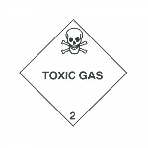 CLASS 2.3 (TOXIC GASES) HAZARD LABELS (250MM X 250MM), Roll of 20