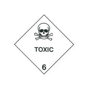 CLASS 6.1 (TOXIC SUBSTANCES) HAZARD LABELS (100MM X 100MM), Roll of 250