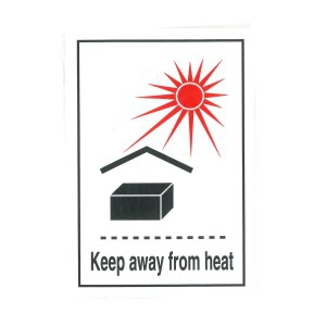 KEEP AWAY FROM HEAT LABEL (74MM X 105MM), Roll of 250